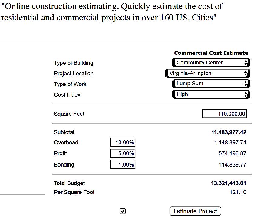 Community Center Construction Cost Estimate - BldgJournal